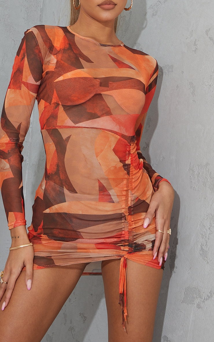 Orange Abstract Print Mesh Long Sleeve Ruched Skirt Bodycon Dress 5