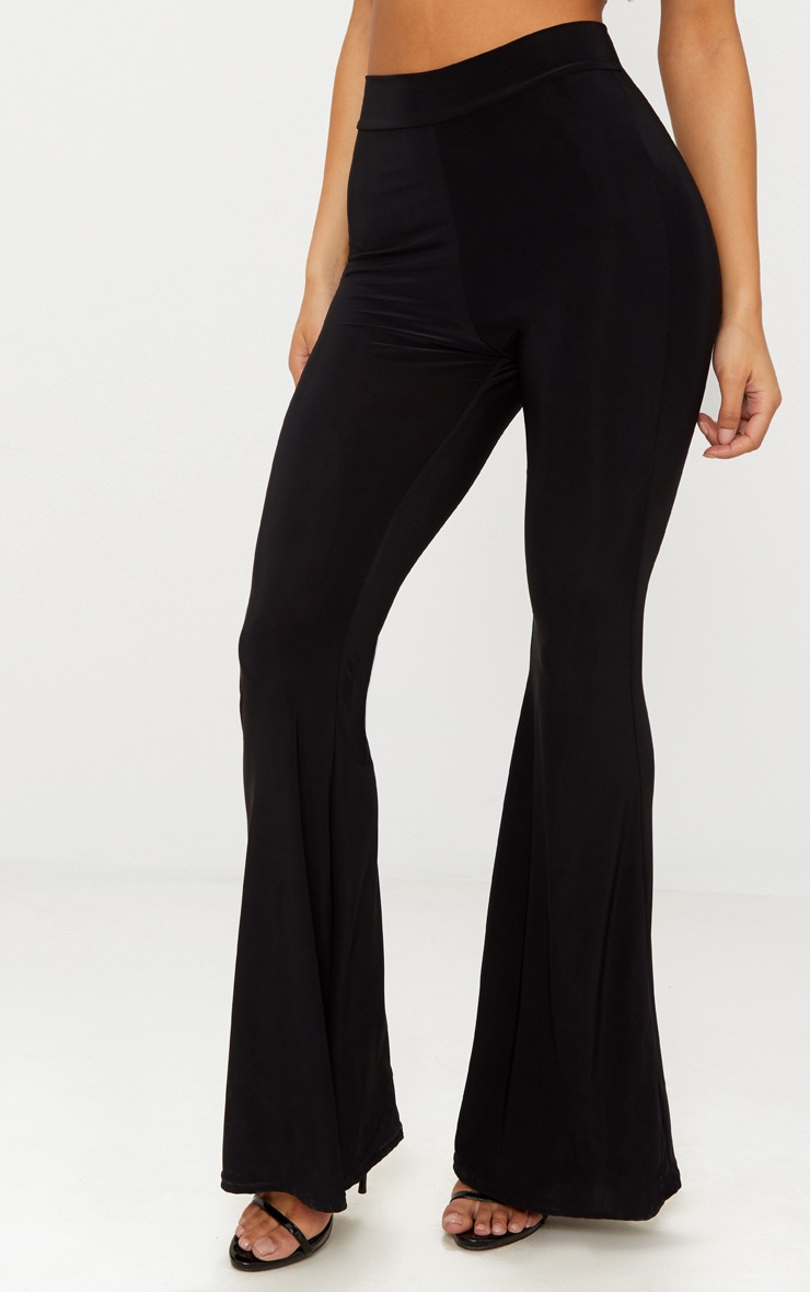 Black Slinky High Waisted Flares 2