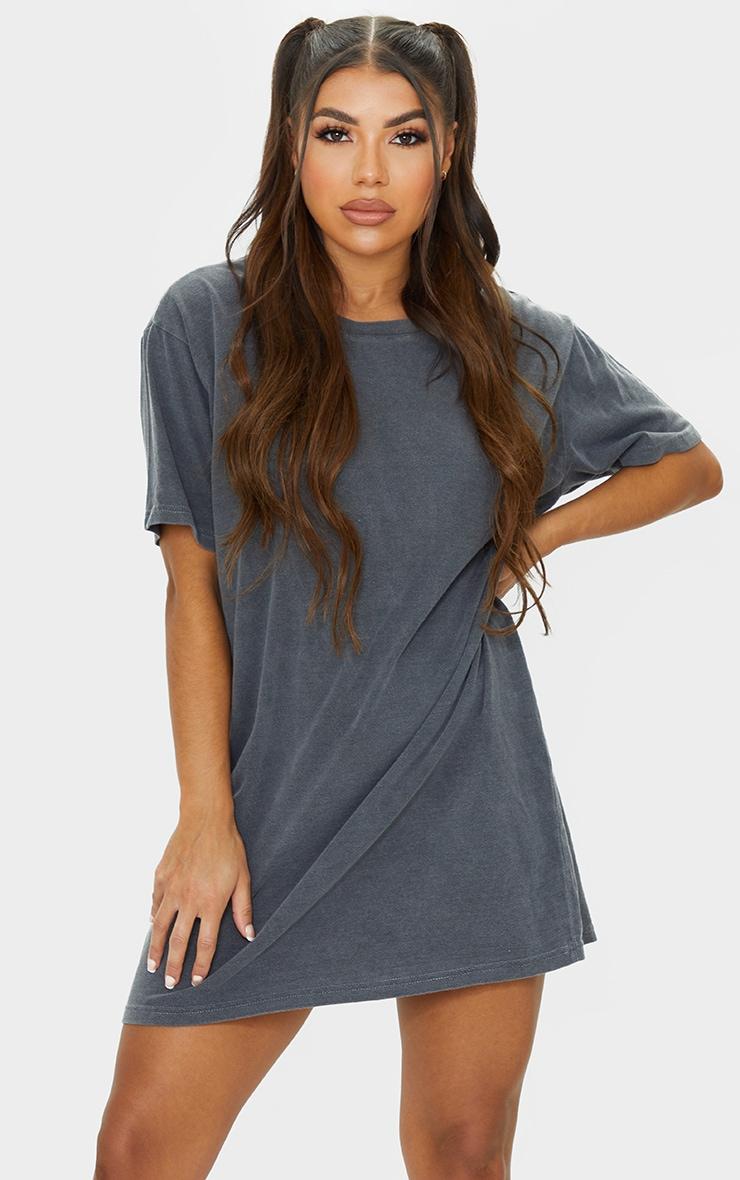 Black Washed LA Oversized T Shirt Dress 3