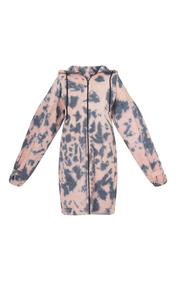 Petite Pink Tie Dye Zipped Hoodie Dress 5