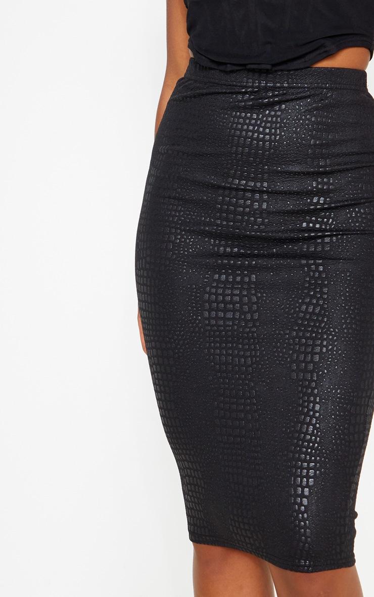 Black Croc Print Midi Skirt  5