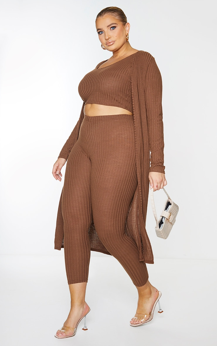 Plus Chocolate Brown Knitted 3 Piece Legging Set 3