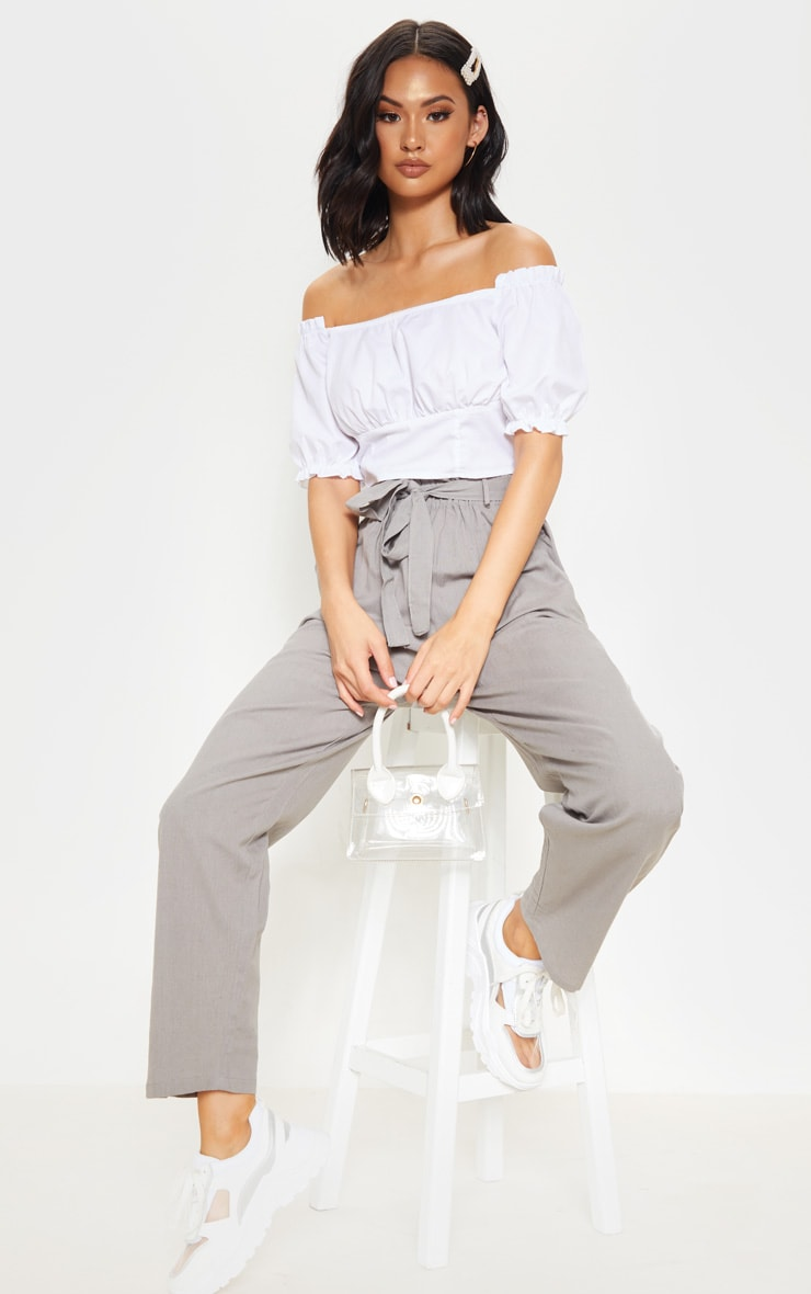 Pale Grey Paperbag Linen Feel Tie Waist Detail Pant 1