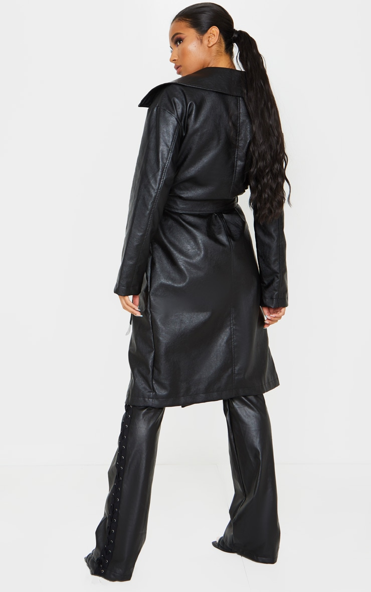 Black Faux Leather Oversized Midi Trench Coat 2