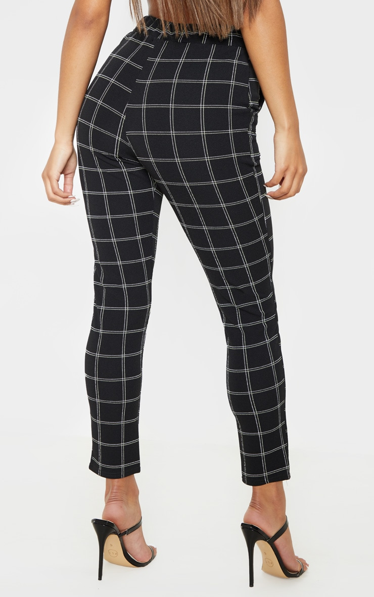Black Tweed Check Skinny Pants 4