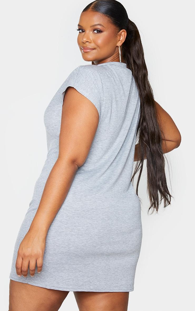 Plus Grey Shoulder Pad Jersey T-Shirt Dress 2