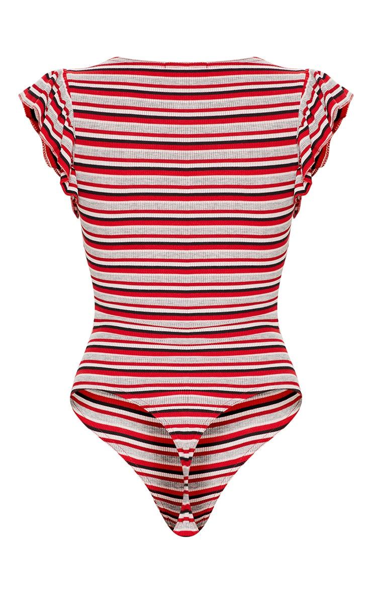 Red Sleeveless Stripe Frill Sleeve Bodysuit 4