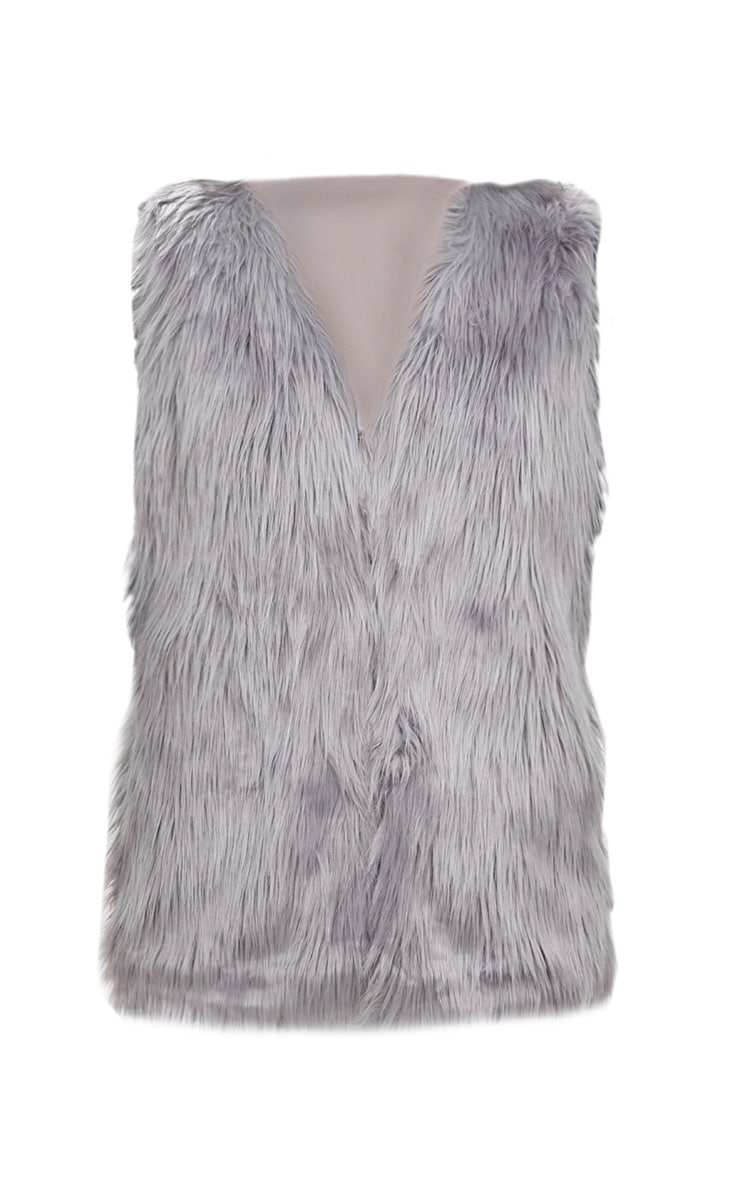 Grey Faux Fur Gilet 3