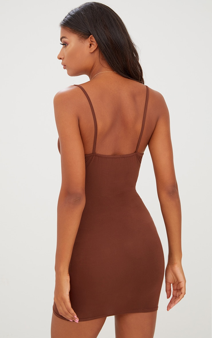 Basic Chocolate Brown Strappy Bodycon Dress 2