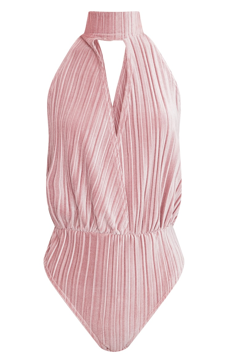 Blush Pleated Velvet Drop Armhole Thong Bodysuit 3