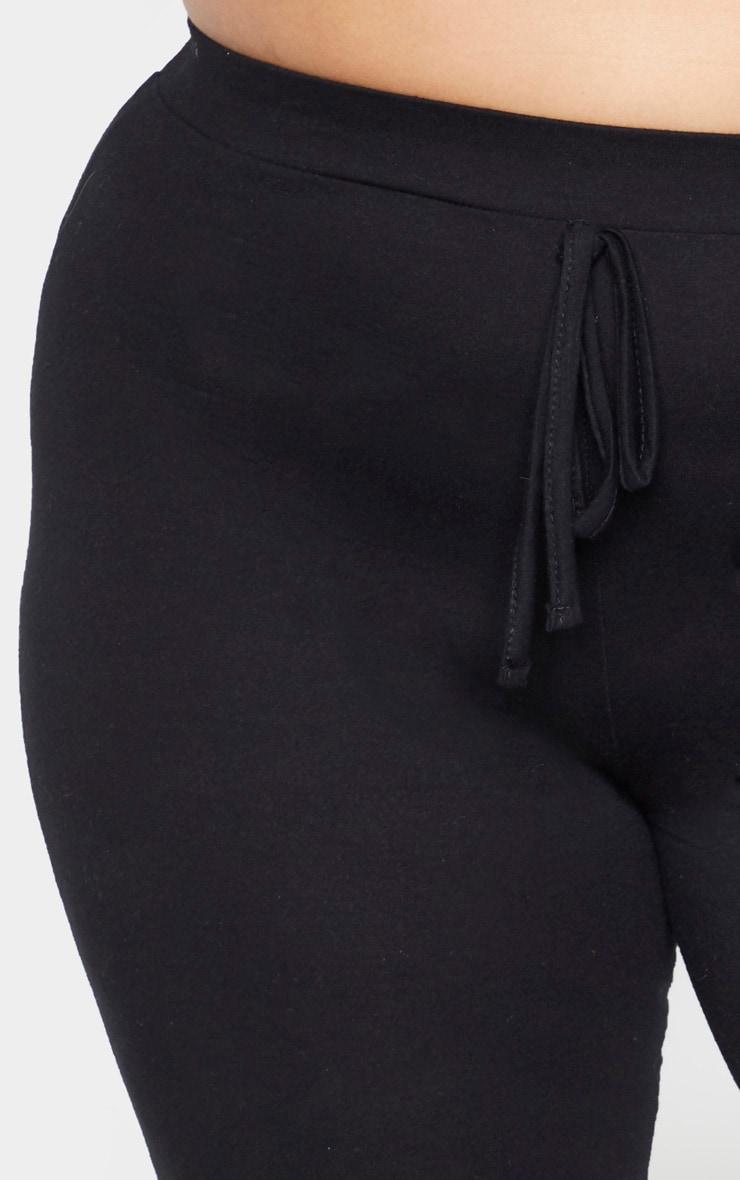 Plus Black Cotton Tie Waist Jogger  5