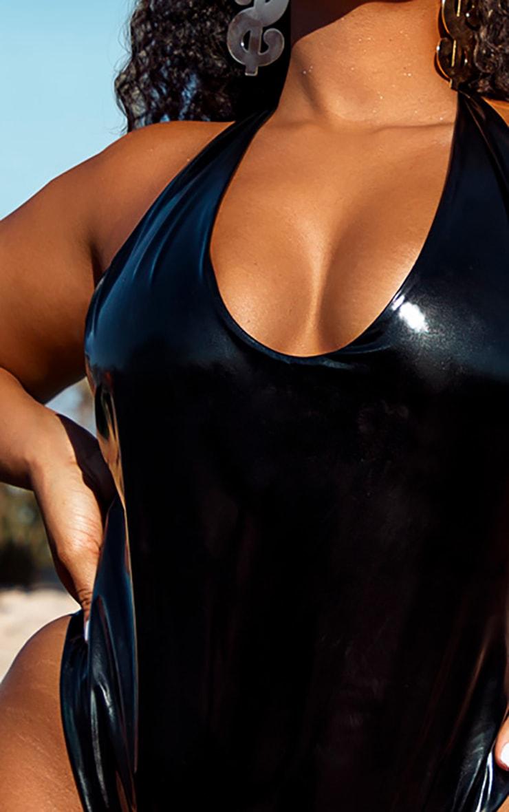 Plus Black Vinyl Plunge Swimsuit 4