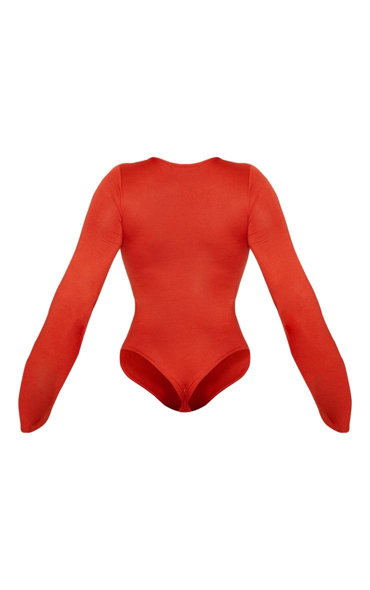 Burnt Orange Jersey Flared Sleeve O-ring Bodysuit 4