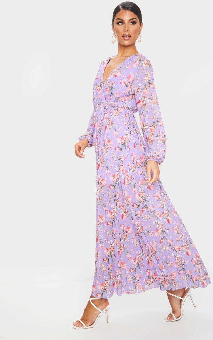 Lilac Floral Long Sleeve Pleated Maxi Dress 3