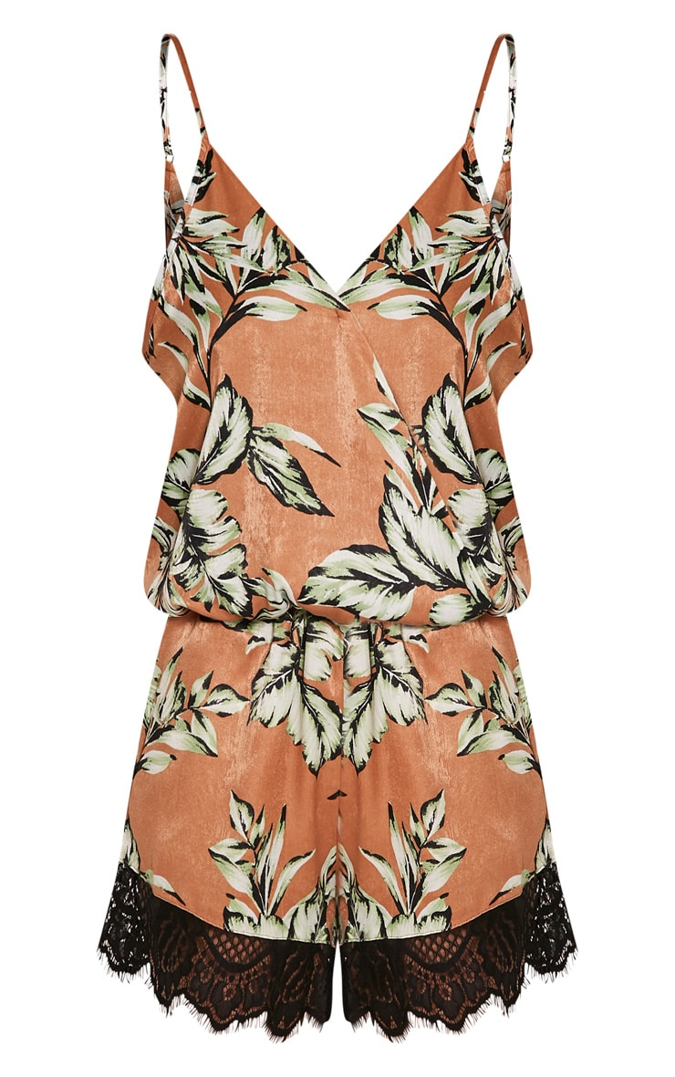 Larae Tan Silky Tropical Print Lace Trim Playsuit 3