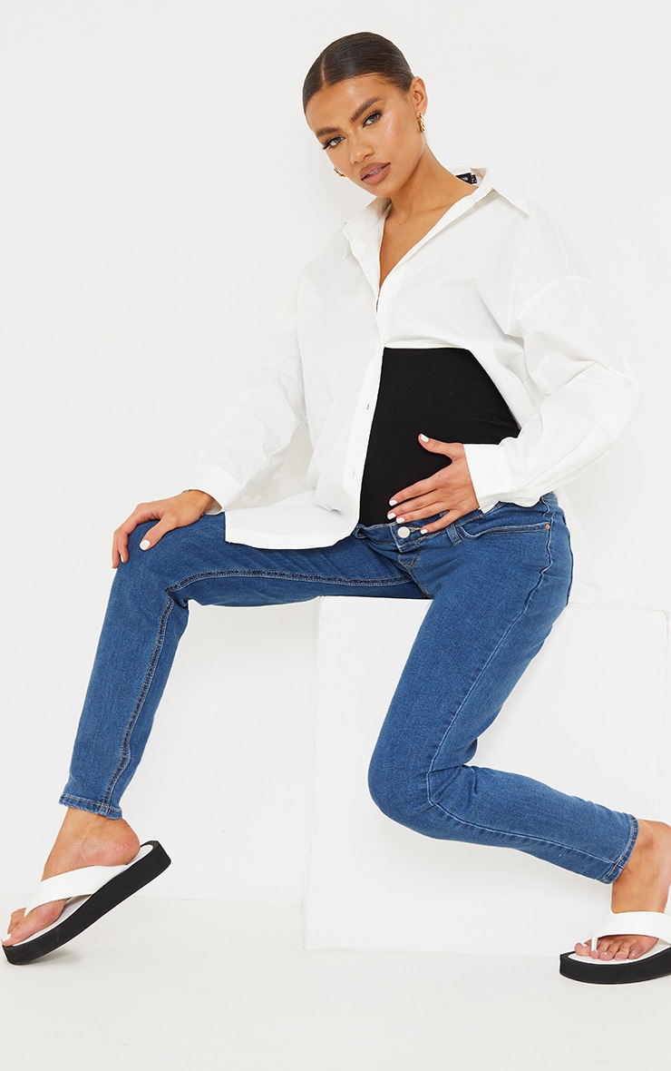 Maternity Mid Wash Skinny Jeans 1
