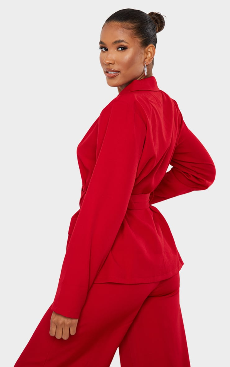 Red Woven Button Front Belted Waist Suit Blazer 2