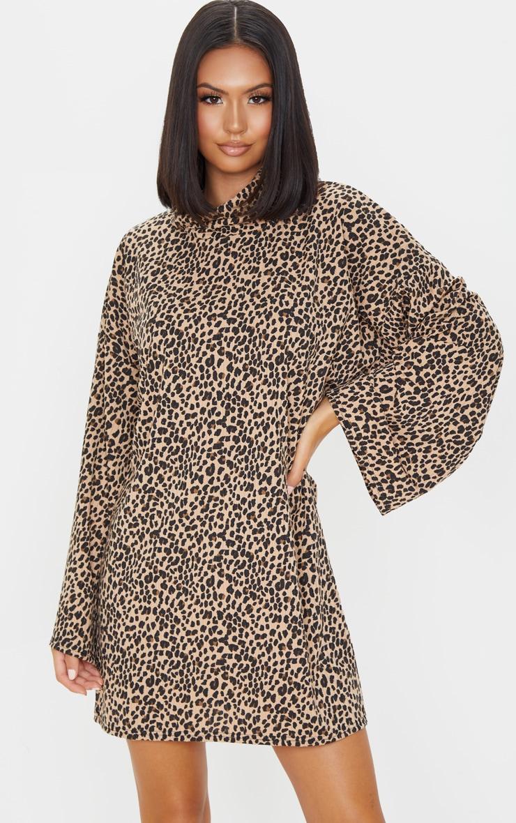 Beige Leopard Print Rib Roll Neck Flare Sleeve Sweater Dress 3