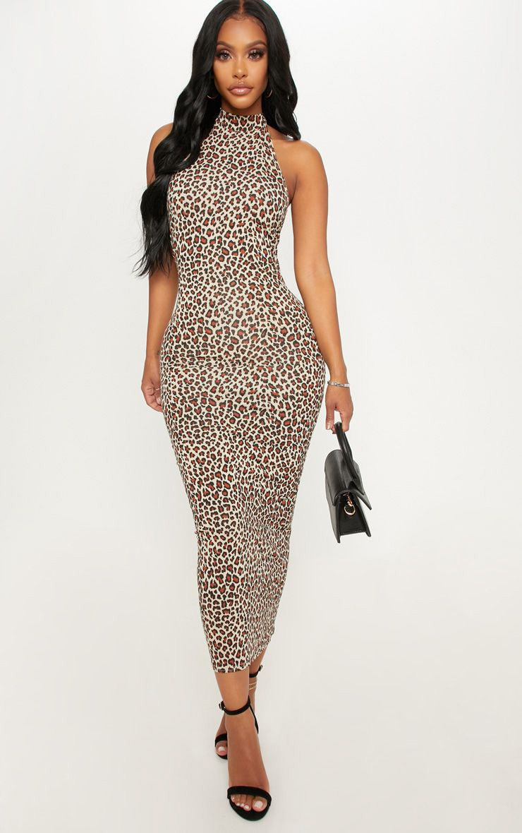 Shape Tan Leopard Print Halterneck Midaxi Dress 1