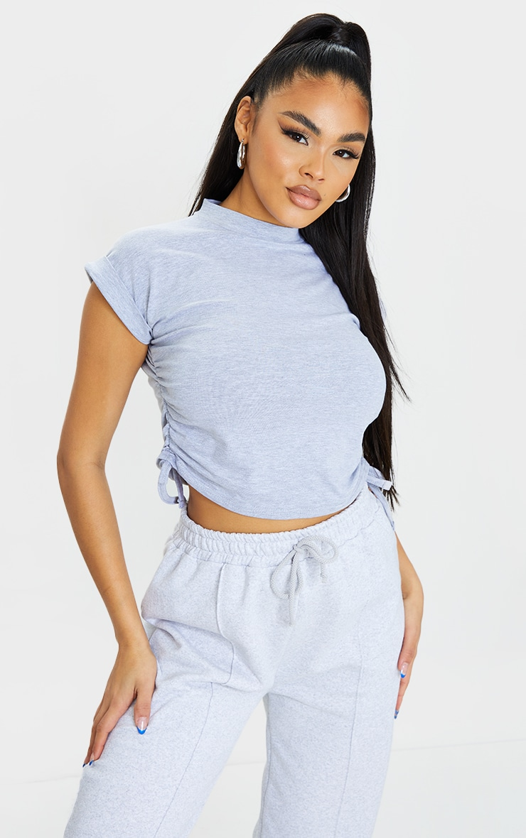 Grey Cotton Folded Sleeve Ruched Side Crop Top 1