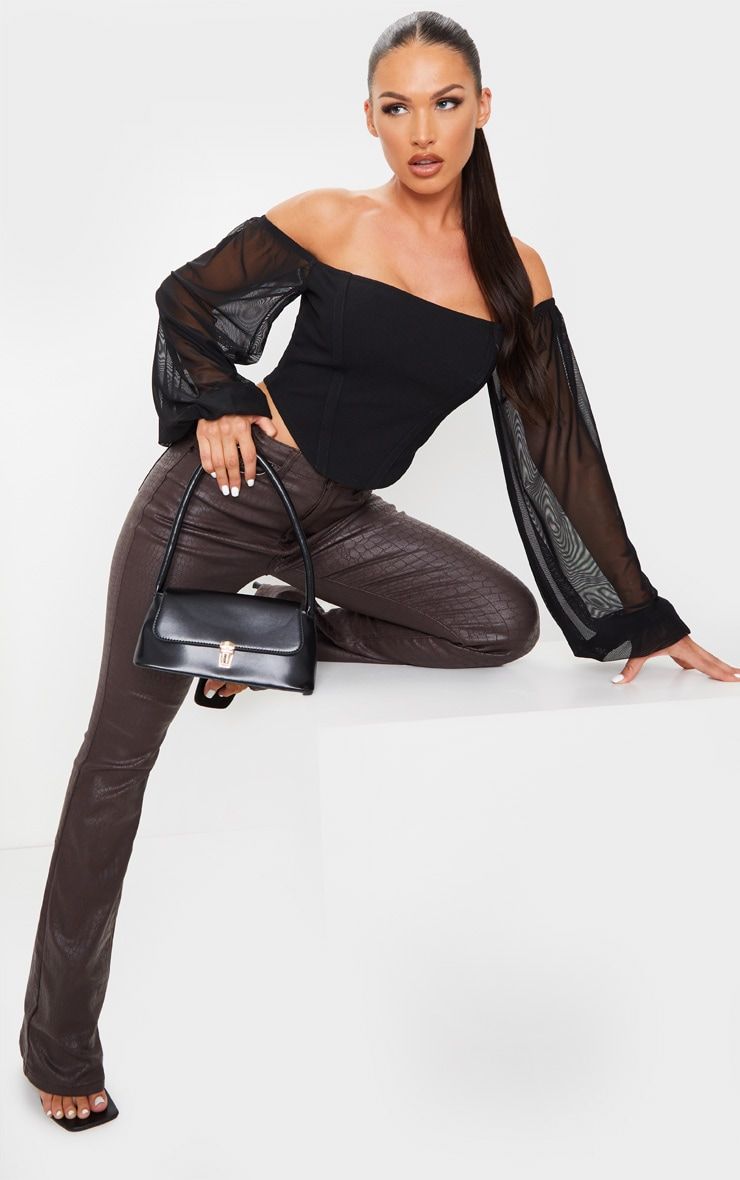Black Crepe Bardot Chiffon Sleeve Crop Top 1