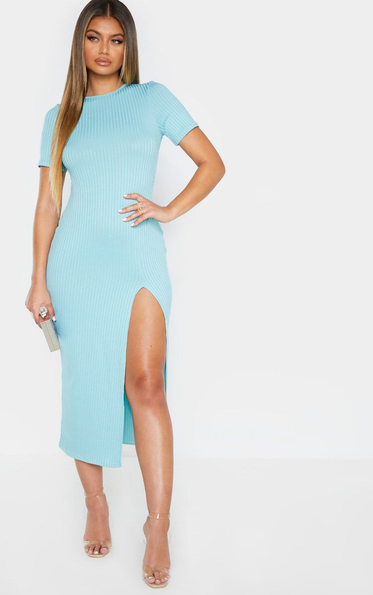 Blue Ribbed Short Sleeve Split Midaxi Dress 3