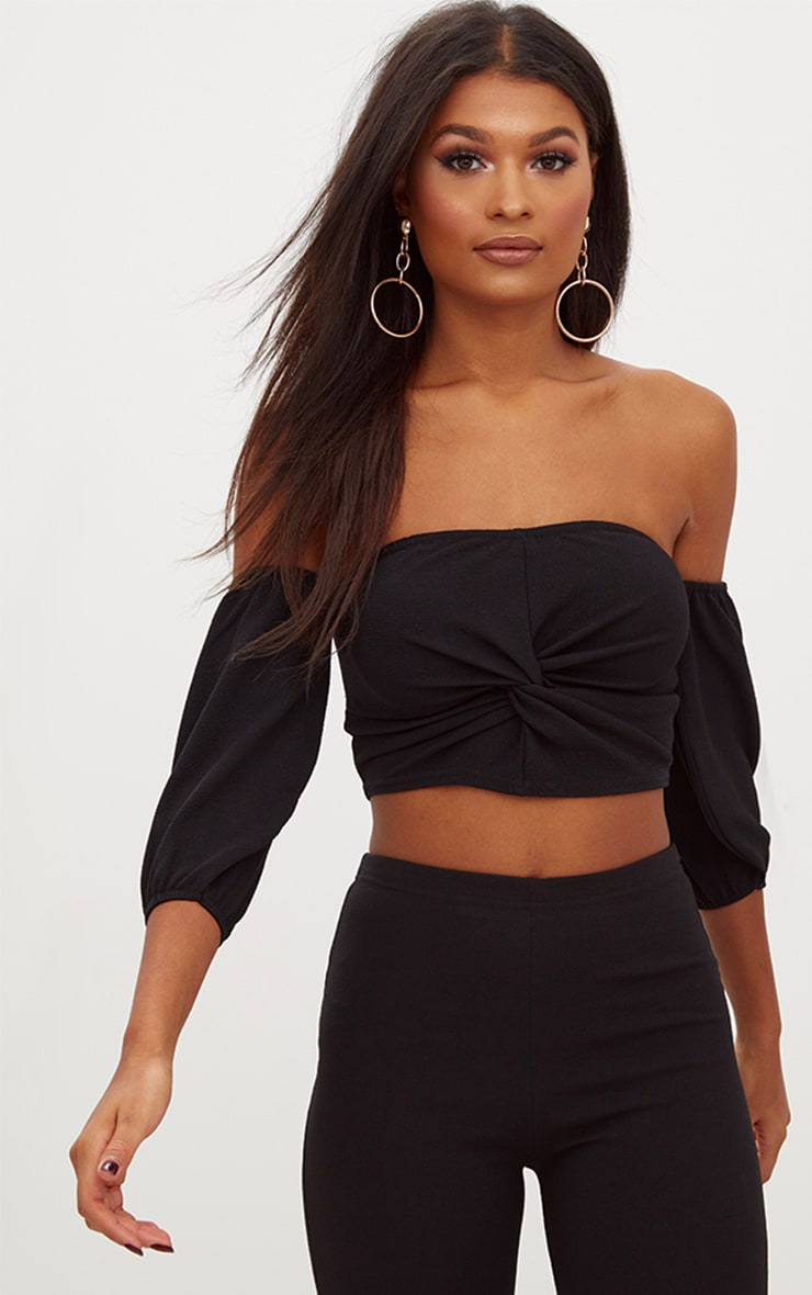 Black Bardot Balloon Sleeve Crop Top  1