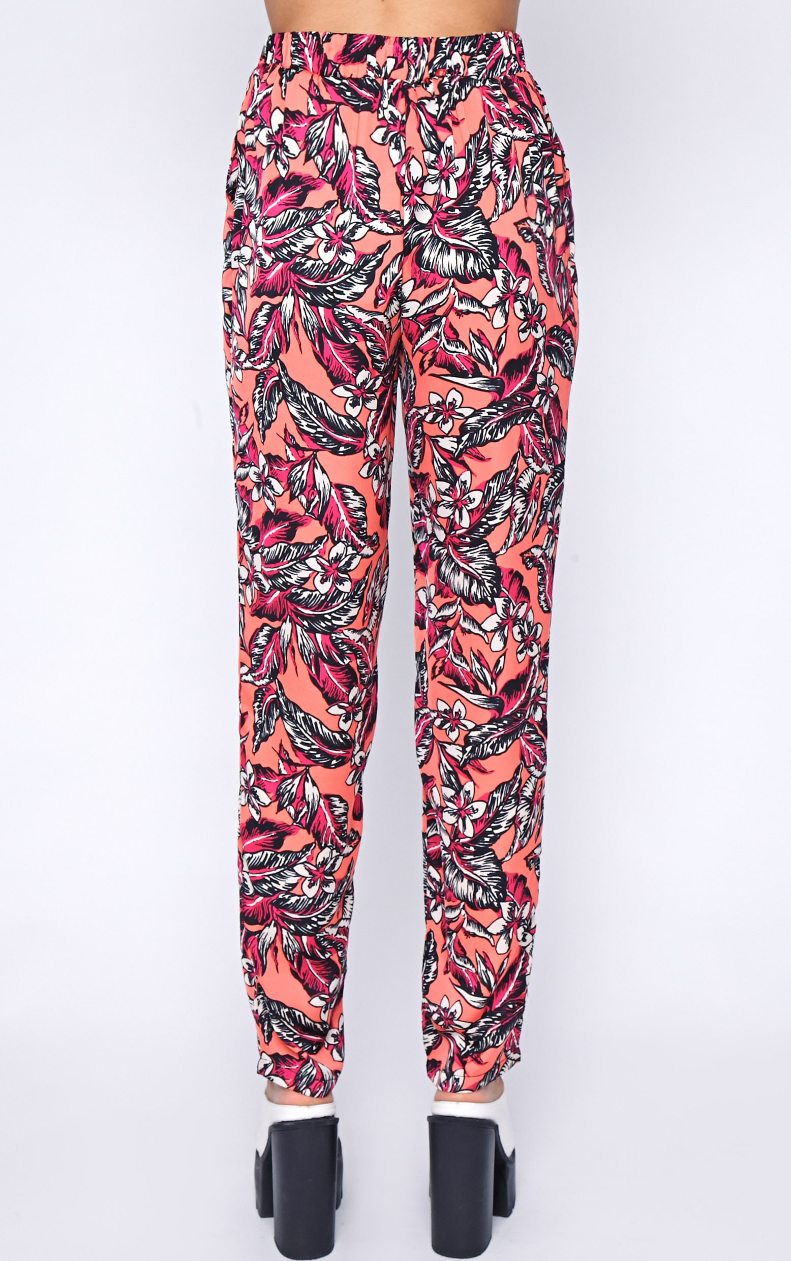 Annabelle Coral Floral Print Trouser 2
