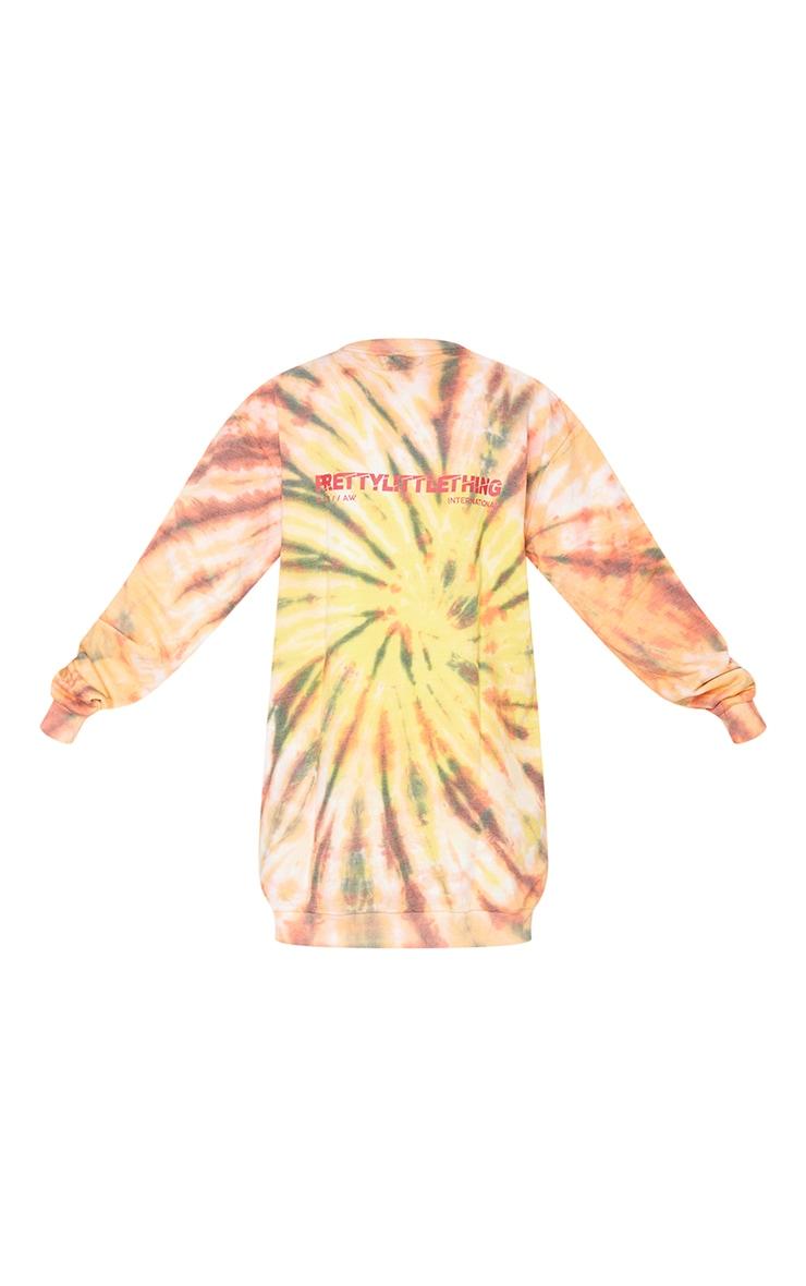 PRETTYLITTLETHING Orange Tie Dye Effect Sweat Jumper Dress 5