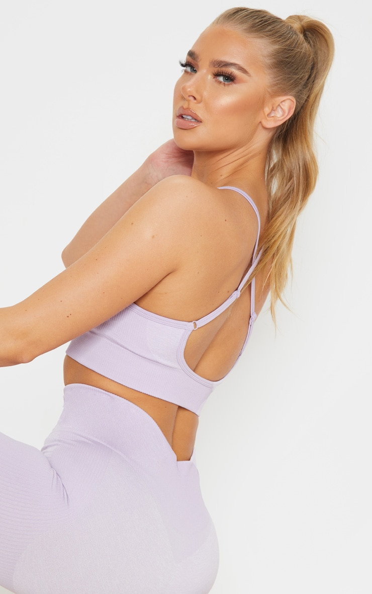 Lilac Seamless Longline Sports Bra Top 5
