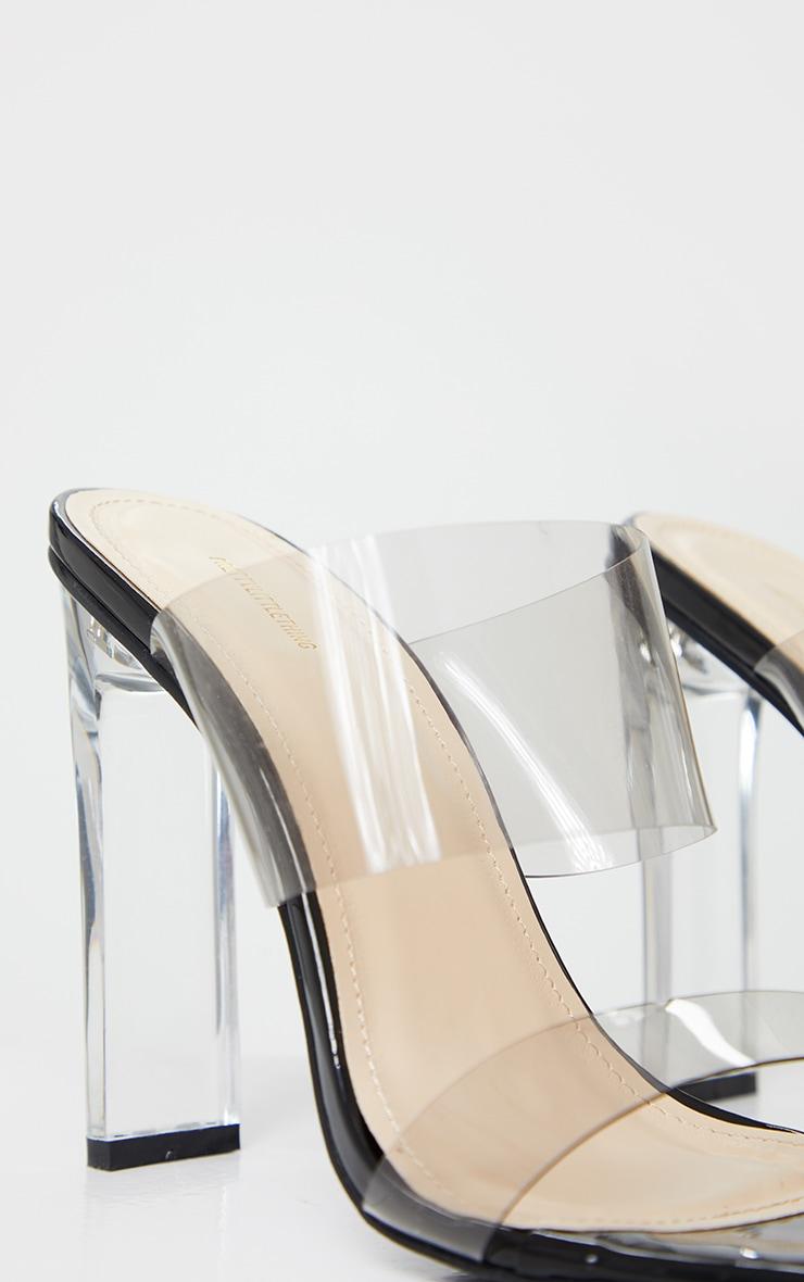 Black Tinted Clear Twin Strap Mule Heels 5
