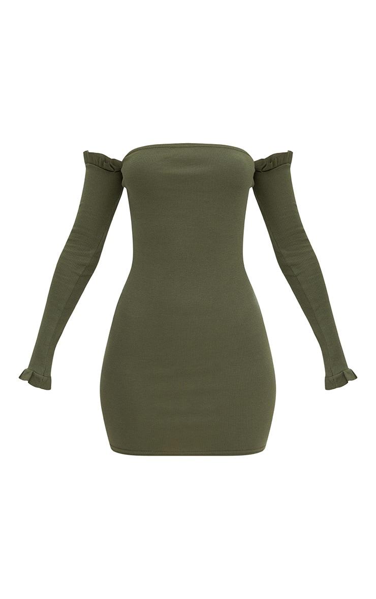 Khaki Ribbed Frill Bardot Bodycon Dress 3