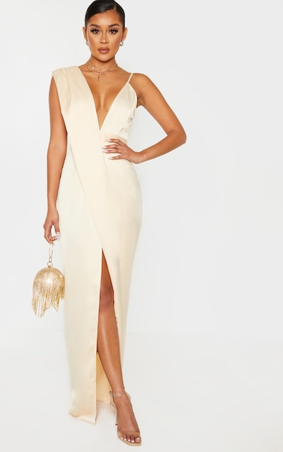 Champagne Asymmetric Drape Detail Maxi Dress