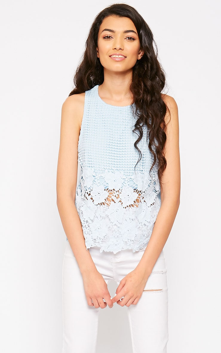 Bobbie Powder Blue Crochet Top 1
