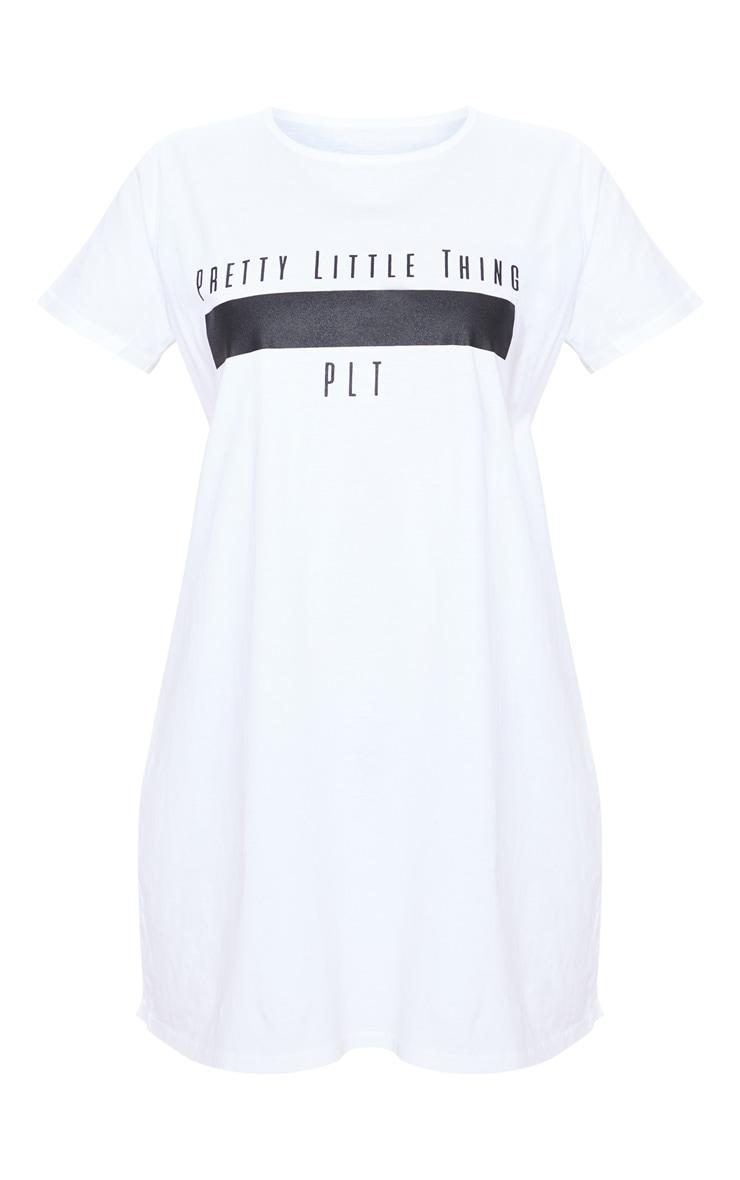 PRETTYLITTLETHING Petite White Printed T Shirt Dress  3