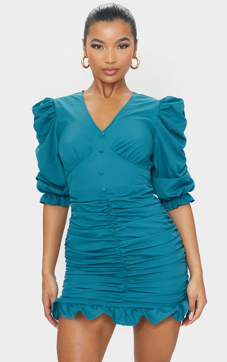 Emerald Green Plunge Puff Sleeve Ruched Skirt Bodycon Dress 3