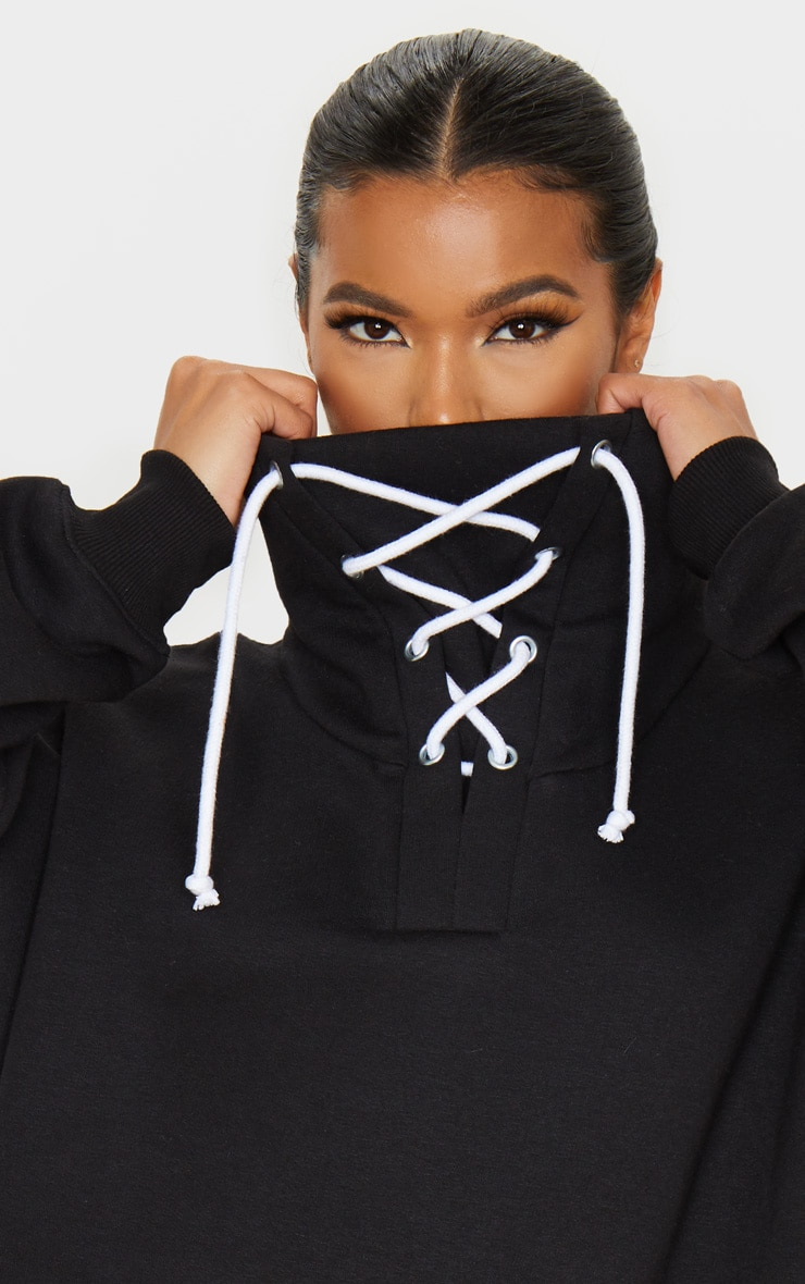 Black Lace Up High Neck Sweater 5