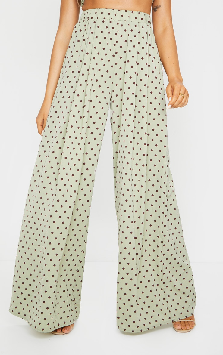 Sage Green Polka Dot Print Wide Leg Pants 2