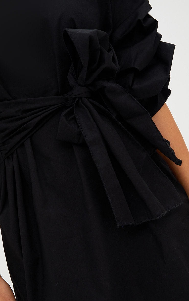 Black Oversized Ruffle Sleeve Shift Dress 5