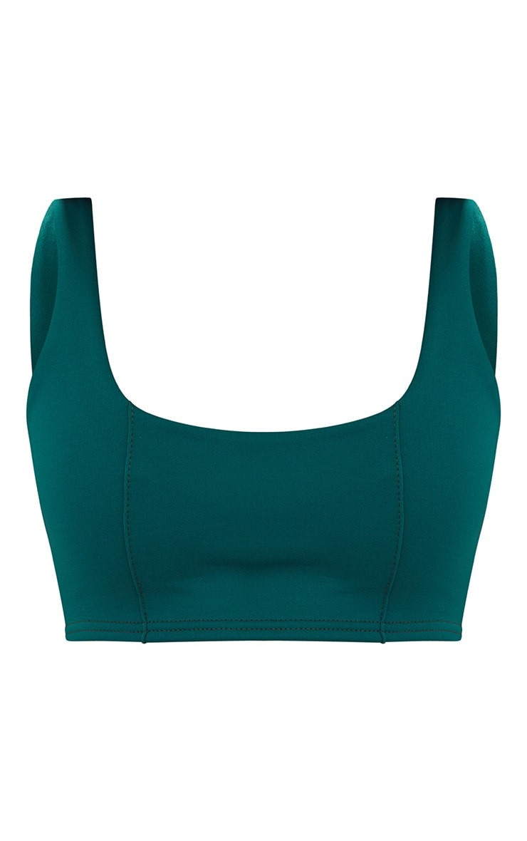 Forest Green Square Neck Zip Back Crop Top 3