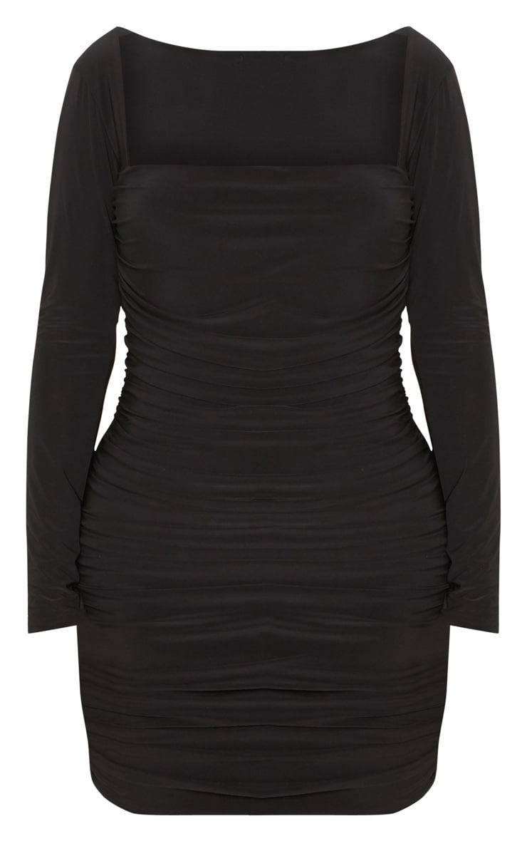 Shape Black Slinky Square Neck Ruched Front Bodycon Dress 3