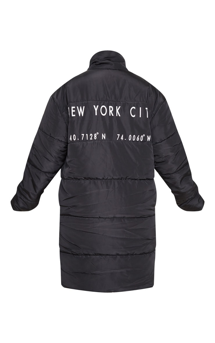 Black Slogan Midi Oversized Puffer Coat 5
