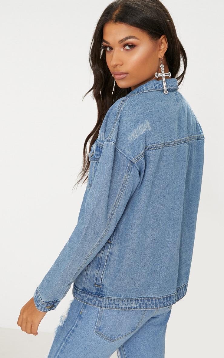 Mid Wash Ring Pull Oversized Denim Jacket 2