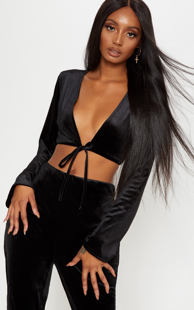 Black Velvet Tie Front Blouson Crop Top