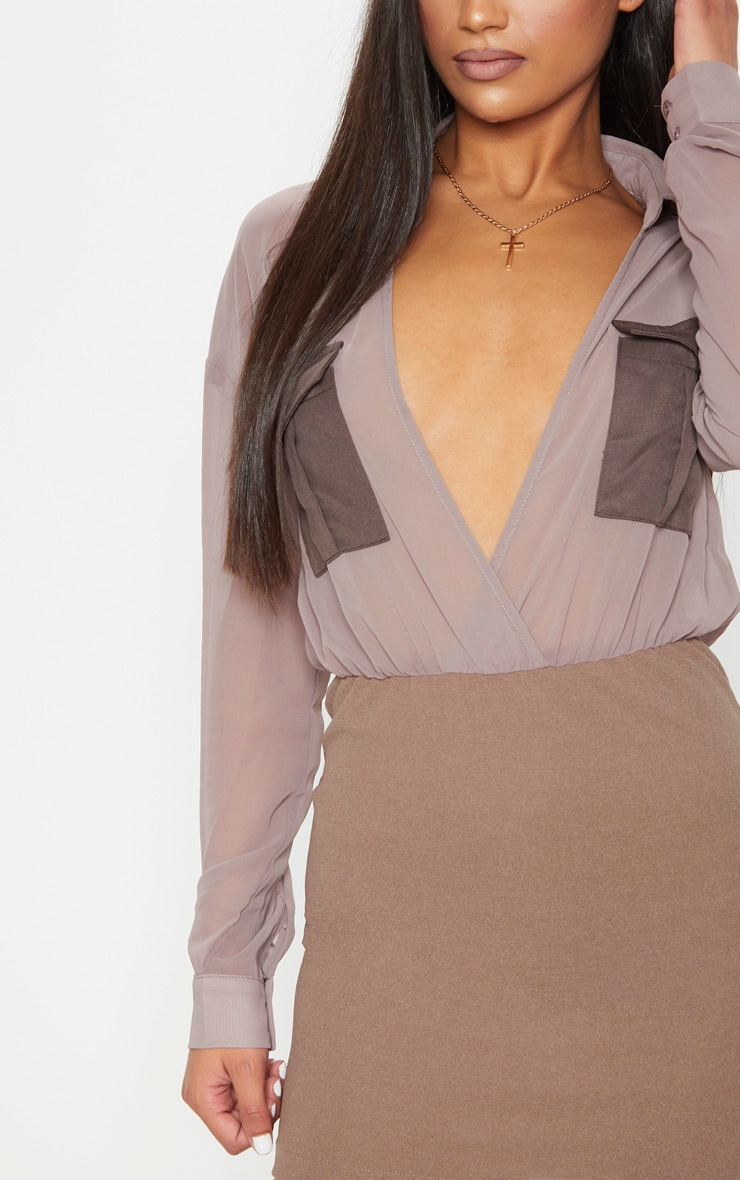 Mocha Sheer Top Utility Bodycon Dress 5