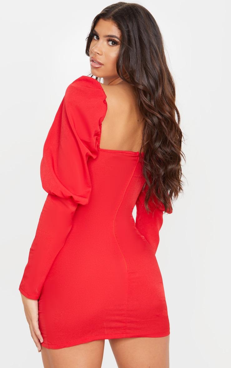 Red Puff Sleeve Twist Detail Bodycon Dress 2