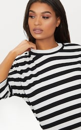 Monochrome Oversized Stripe T-Shirt Dress 5