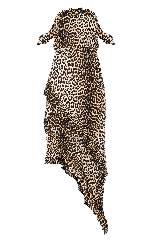 Leopard Print Frill Bardot Maxi Dress 4