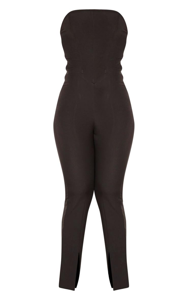 Black Corset Bodice Split Hem Jumpsuit 3