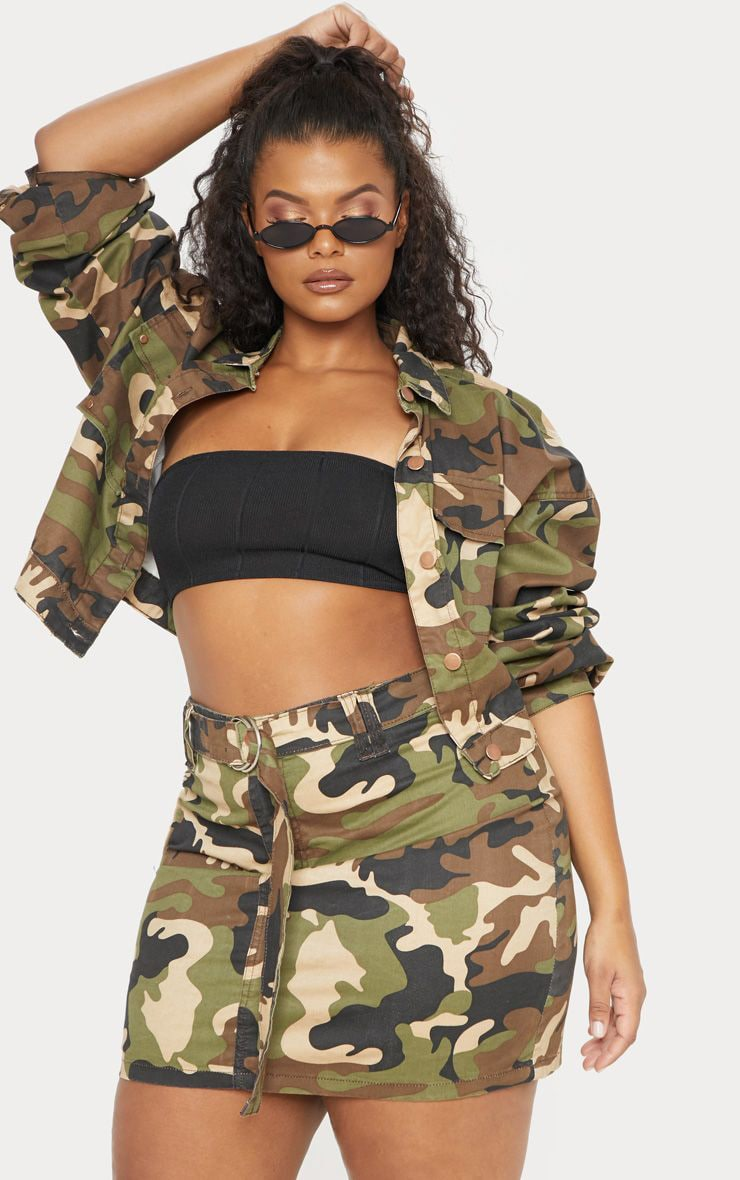 2aa468792a229 Plus Khaki Camo O-Ring Denim Skirt | PrettyLittleThing USA
